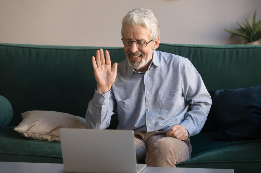 older man communicates online